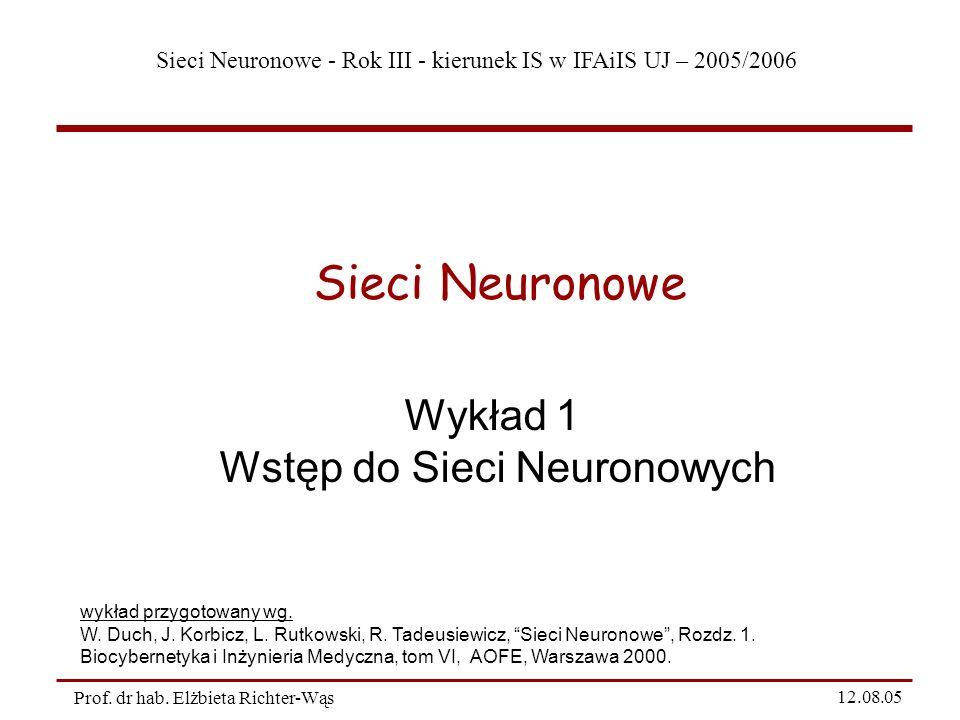 Sieci Neuronowe - Rok III - kierunek IS w IFAiIS UJ – 2005/2006 Prof. dr hab. Elżbieta Richter-Wąs 12.08.05 Wykład 1 Wstęp do Sieci Neuronowych Sieci