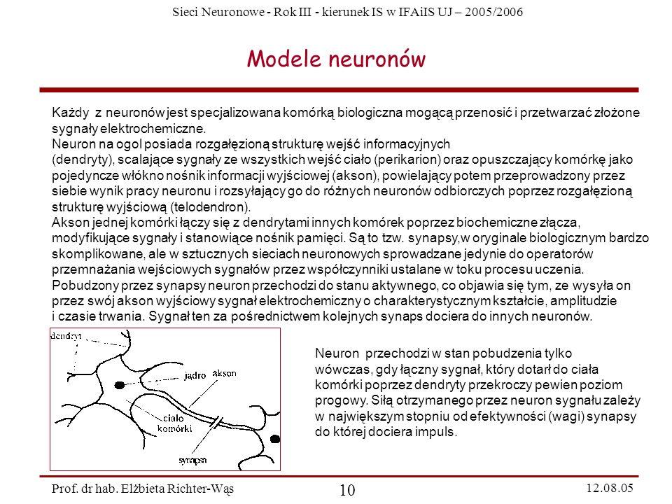 Sieci Neuronowe - Rok III - kierunek IS w IFAiIS UJ – 2005/2006 Prof. dr hab. Elżbieta Richter-Wąs 10 12.08.05 Modele neuronów Każdy z neuronów jest s