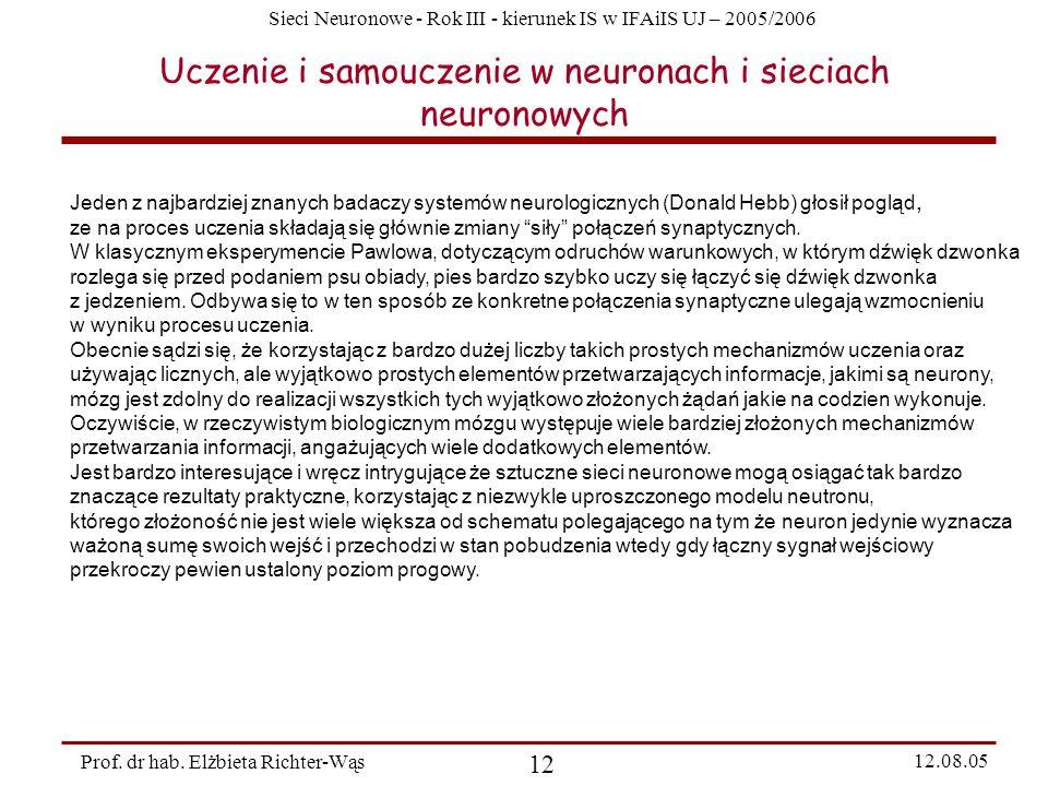 Sieci Neuronowe - Rok III - kierunek IS w IFAiIS UJ – 2005/2006 Prof. dr hab. Elżbieta Richter-Wąs 12 12.08.05 Uczenie i samouczenie w neuronach i sie