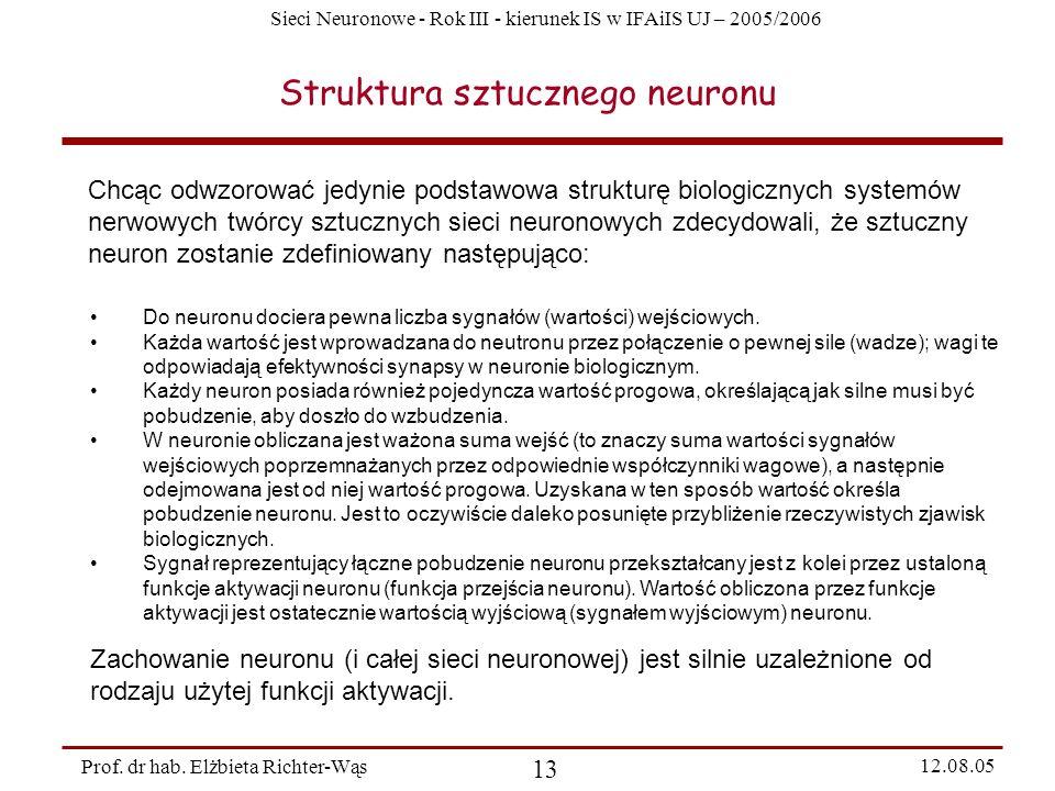 Sieci Neuronowe - Rok III - kierunek IS w IFAiIS UJ – 2005/2006 Prof. dr hab. Elżbieta Richter-Wąs 13 12.08.05 Struktura sztucznego neuronu Chcąc odwz
