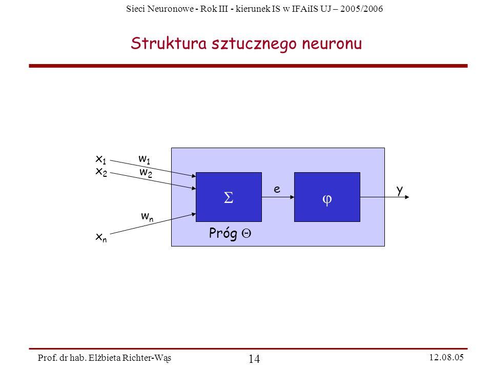 Sieci Neuronowe - Rok III - kierunek IS w IFAiIS UJ – 2005/2006 Prof. dr hab. Elżbieta Richter-Wąs 14 12.08.05 Struktura sztucznego neuronu Próg x1x1