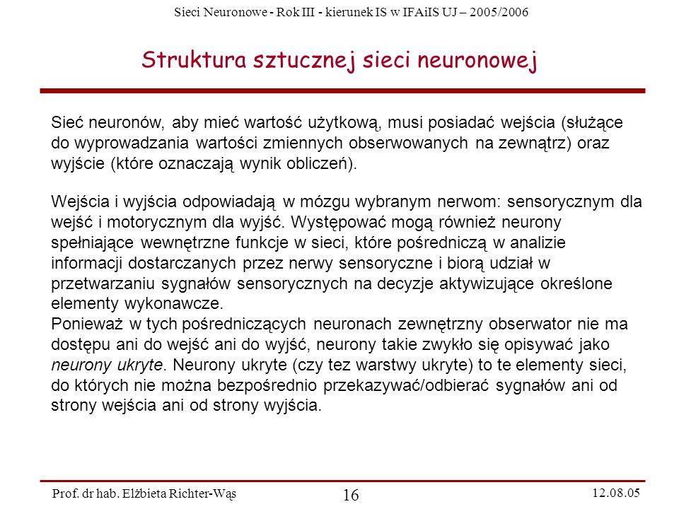 Sieci Neuronowe - Rok III - kierunek IS w IFAiIS UJ – 2005/2006 Prof. dr hab. Elżbieta Richter-Wąs 16 12.08.05 Struktura sztucznej sieci neuronowej Si