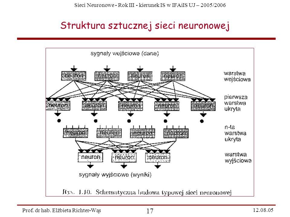 Sieci Neuronowe - Rok III - kierunek IS w IFAiIS UJ – 2005/2006 Prof. dr hab. Elżbieta Richter-Wąs 17 12.08.05 Struktura sztucznej sieci neuronowej