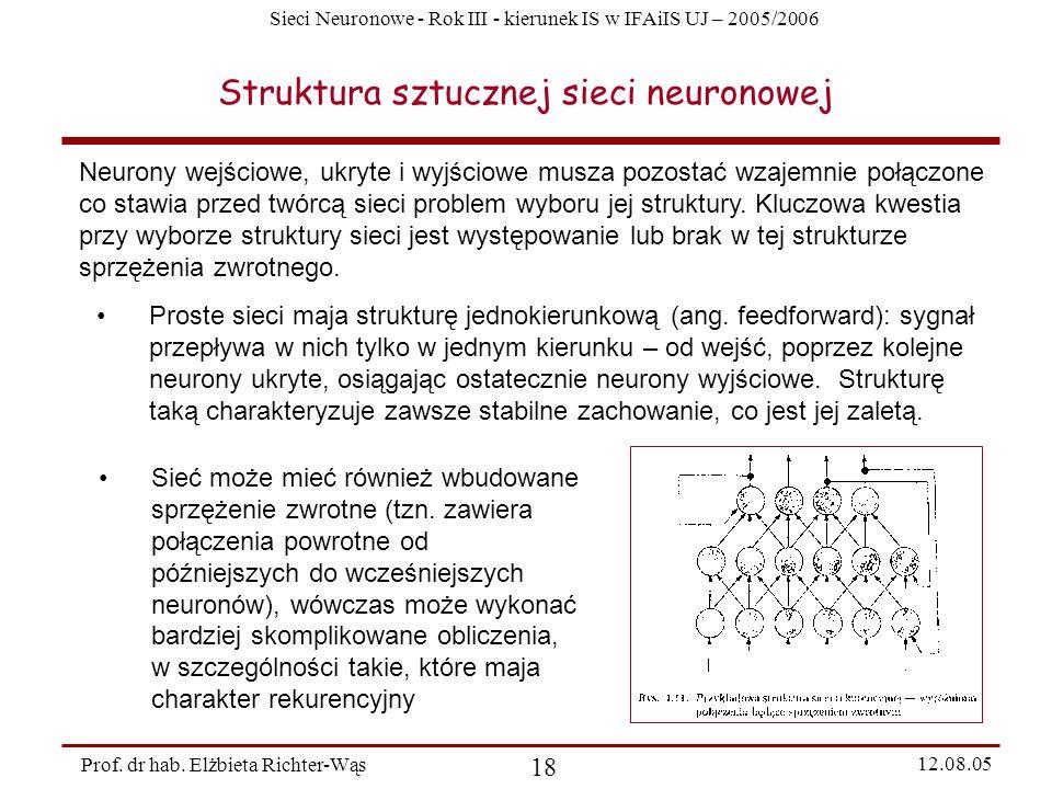 Sieci Neuronowe - Rok III - kierunek IS w IFAiIS UJ – 2005/2006 Prof. dr hab. Elżbieta Richter-Wąs 18 12.08.05 Struktura sztucznej sieci neuronowej Ne