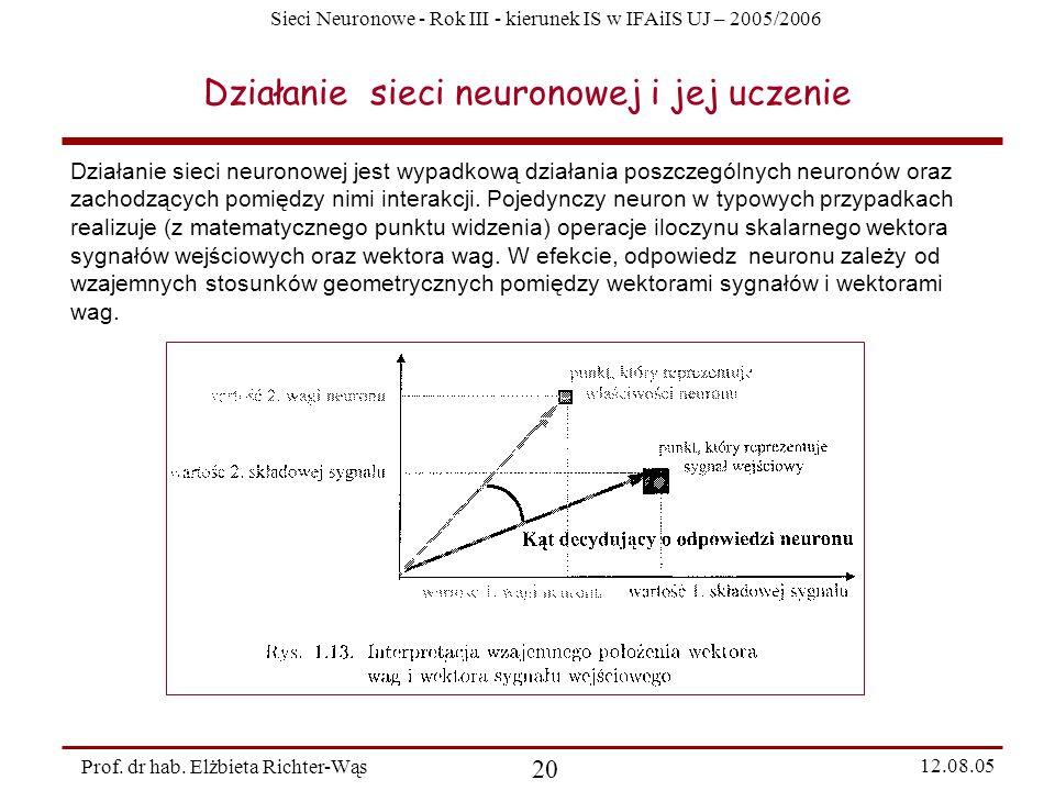 Sieci Neuronowe - Rok III - kierunek IS w IFAiIS UJ – 2005/2006 Prof. dr hab. Elżbieta Richter-Wąs 20 12.08.05 Działanie sieci neuronowej i jej uczeni