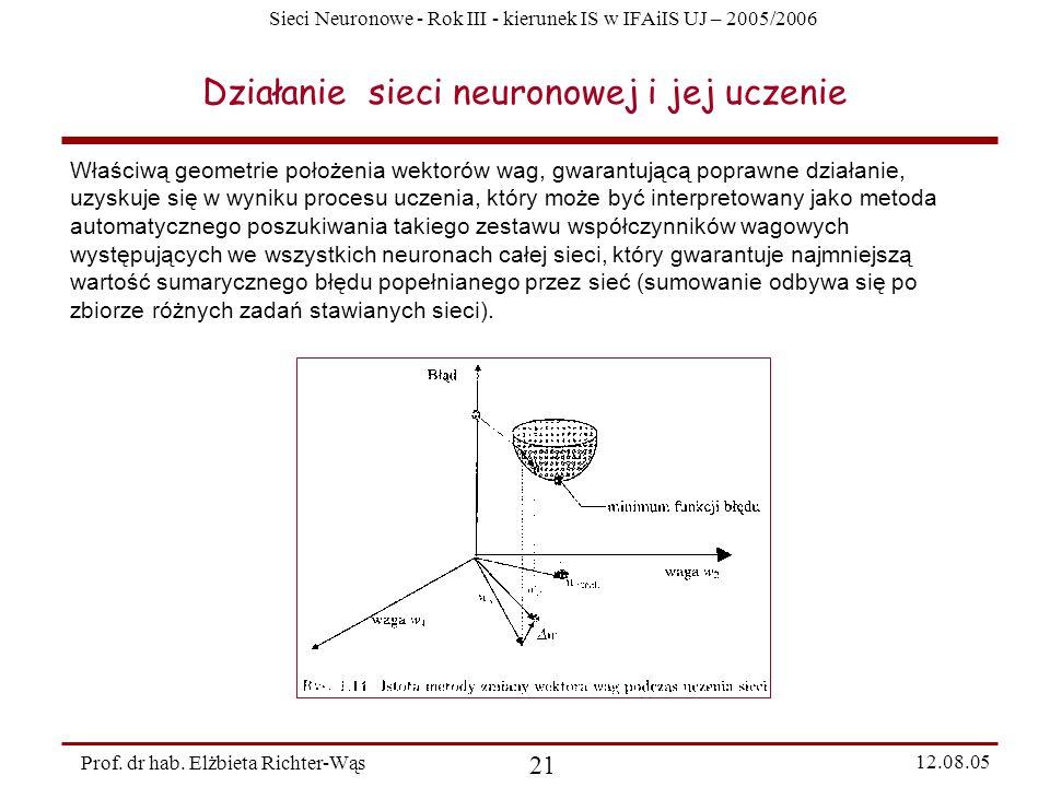 Sieci Neuronowe - Rok III - kierunek IS w IFAiIS UJ – 2005/2006 Prof. dr hab. Elżbieta Richter-Wąs 21 12.08.05 Działanie sieci neuronowej i jej uczeni