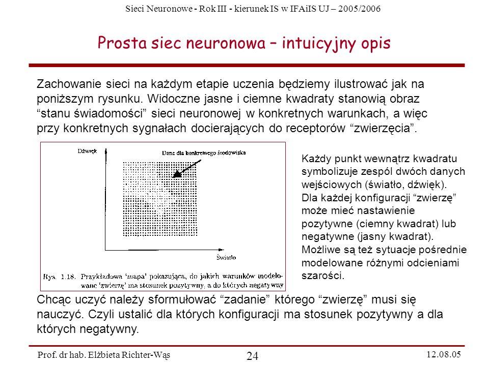 Sieci Neuronowe - Rok III - kierunek IS w IFAiIS UJ – 2005/2006 Prof. dr hab. Elżbieta Richter-Wąs 24 12.08.05 Prosta siec neuronowa – intuicyjny opis