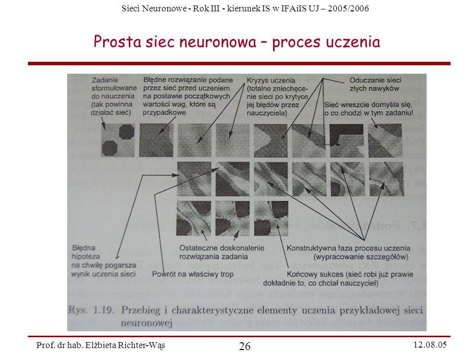 Sieci Neuronowe - Rok III - kierunek IS w IFAiIS UJ – 2005/2006 Prof. dr hab. Elżbieta Richter-Wąs 26 12.08.05 Prosta siec neuronowa – proces uczenia
