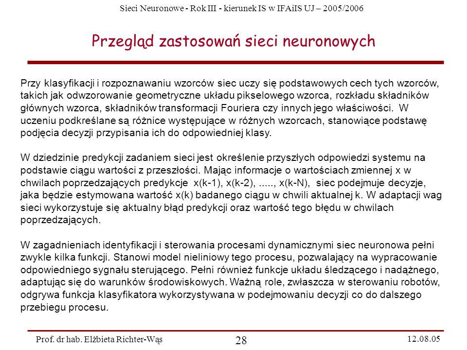 Sieci Neuronowe - Rok III - kierunek IS w IFAiIS UJ – 2005/2006 Prof. dr hab. Elżbieta Richter-Wąs 28 12.08.05 Przegląd zastosowań sieci neuronowych P