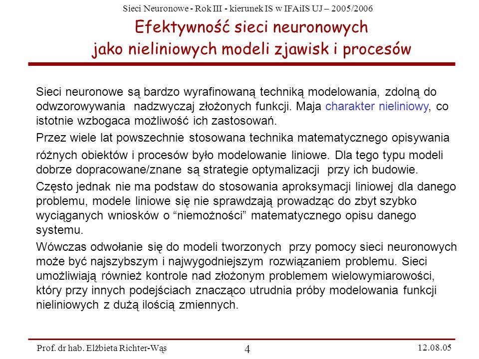 Sieci Neuronowe - Rok III - kierunek IS w IFAiIS UJ – 2005/2006 Prof. dr hab. Elżbieta Richter-Wąs 4 12.08.05 Efektywność sieci neuronowych jako nieli