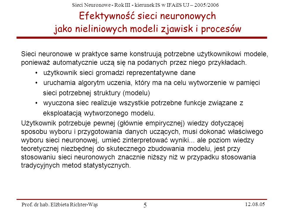 Sieci Neuronowe - Rok III - kierunek IS w IFAiIS UJ – 2005/2006 Prof. dr hab. Elżbieta Richter-Wąs 5 12.08.05 Efektywność sieci neuronowych jako nieli