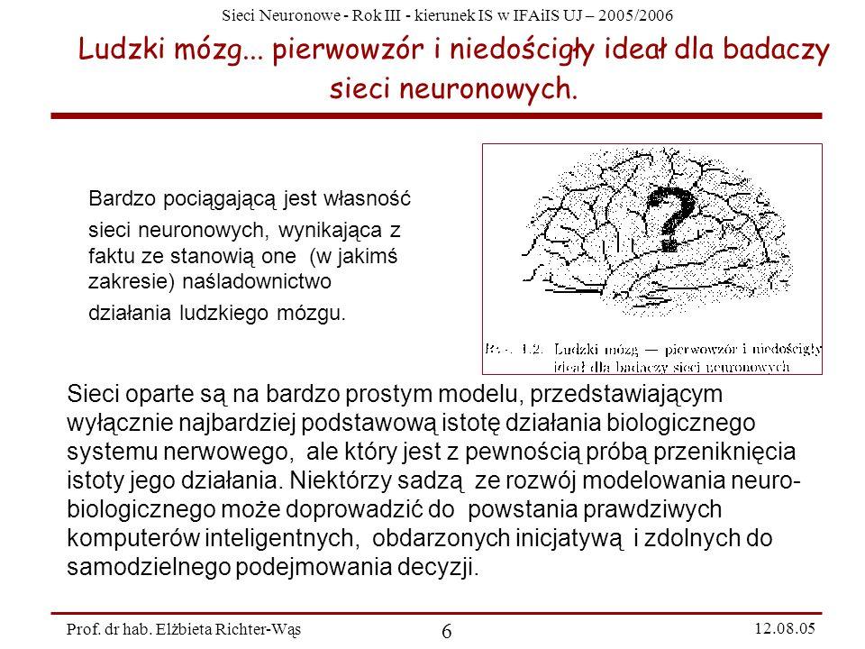 Sieci Neuronowe - Rok III - kierunek IS w IFAiIS UJ – 2005/2006 Prof. dr hab. Elżbieta Richter-Wąs 6 12.08.05 Ludzki mózg... pierwowzór i niedościgły
