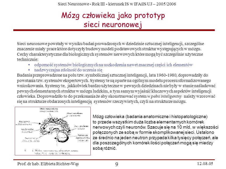 Sieci Neuronowe - Rok III - kierunek IS w IFAiIS UJ – 2005/2006 Prof. dr hab. Elżbieta Richter-Wąs 9 12.08.05 Mózg człowieka jako prototyp sieci neuro