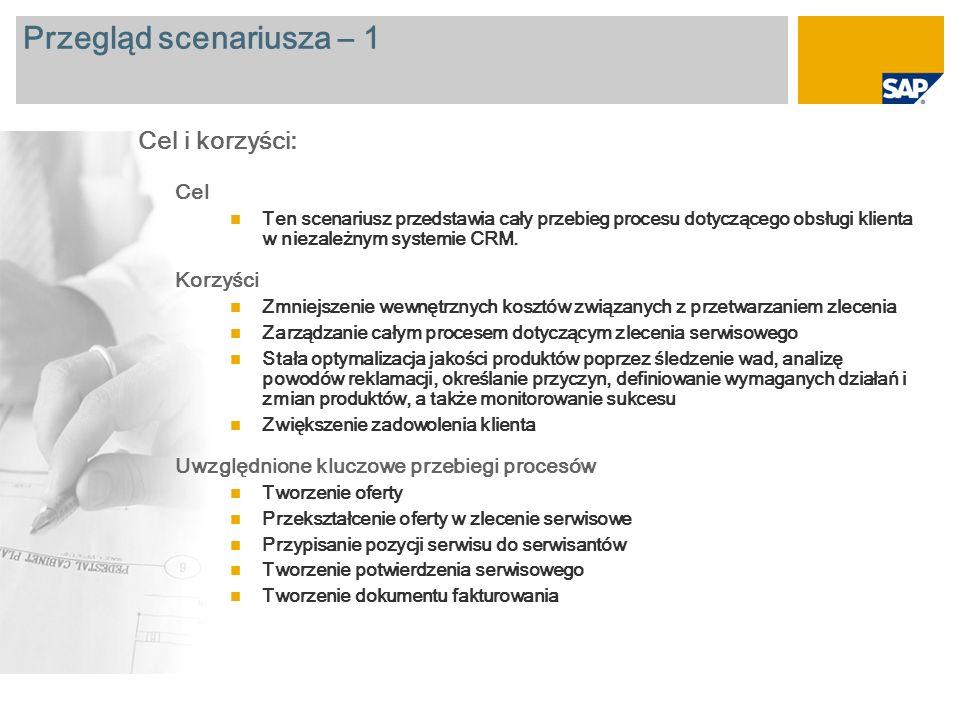 Przegląd scenariusza – 2 Wymagane SAP CRM 2007 Role firmy zaangażowane w przebiegi procesów Service Employee Service Manager Service Technician Wymagane aplikacje firmy SAP:
