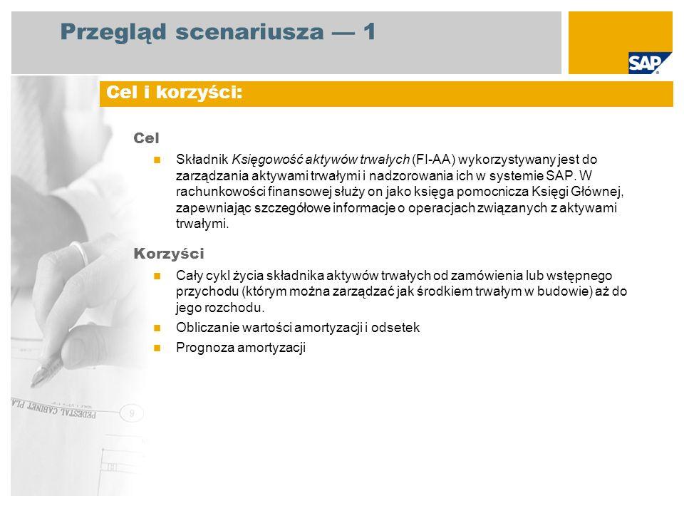 Przegląd scenariusza 1 Cel Składnik Księgowość aktywów trwałych (FI-AA) wykorzystywany jest do zarządzania aktywami trwałymi i nadzorowania ich w syst