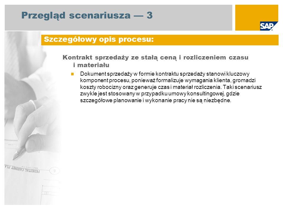 Przegląd scenariusza 3 Kontrakt sprzedaży ze stałą ceną i rozliczeniem czasu i materiału Dokument sprzedaży w formie kontraktu sprzedaży stanowi klucz
