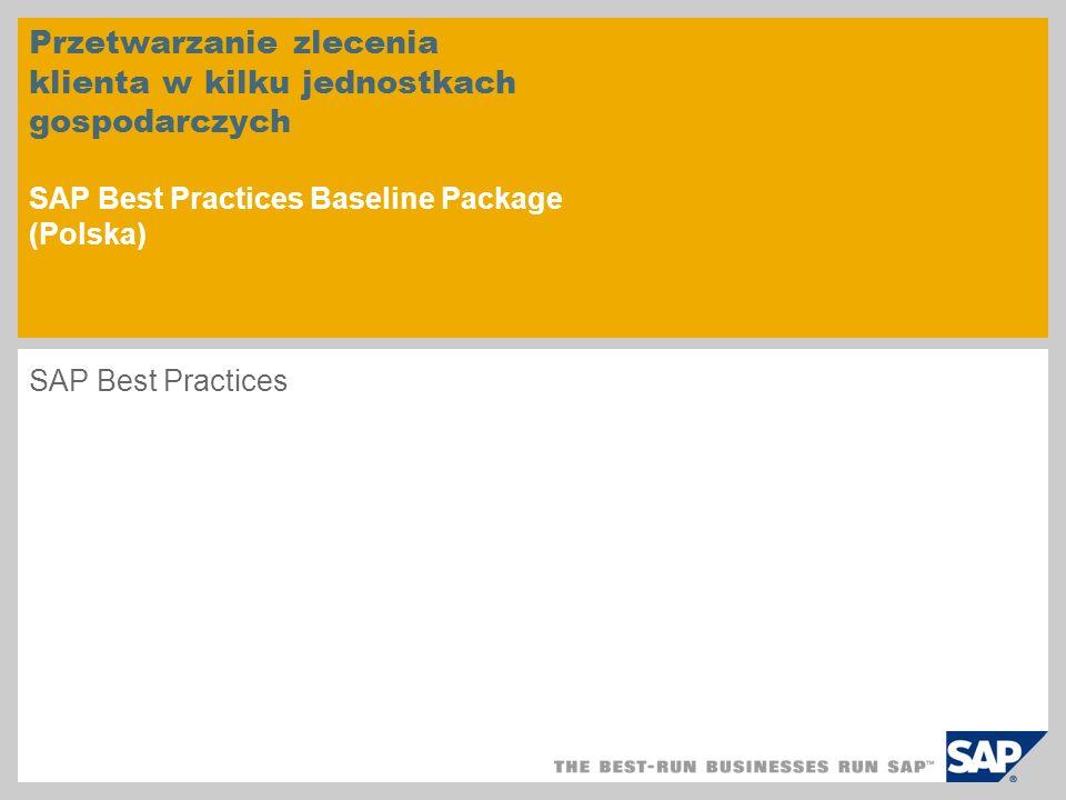 Przetwarzanie zlecenia klienta w kilku jednostkach gospodarczych SAP Best Practices Baseline Package (Polska) SAP Best Practices