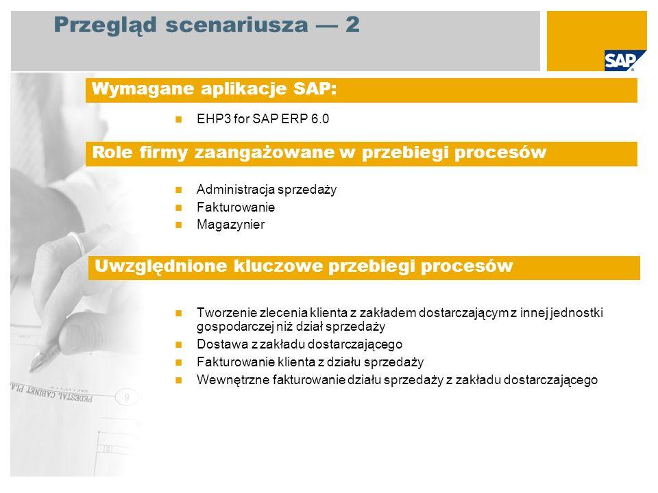 EHP3 for SAP ERP 6.0 Administracja sprzedaży Fakturowanie Magazynier Tworzenie zlecenia klienta z zakładem dostarczającym z innej jednostki gospodarcz