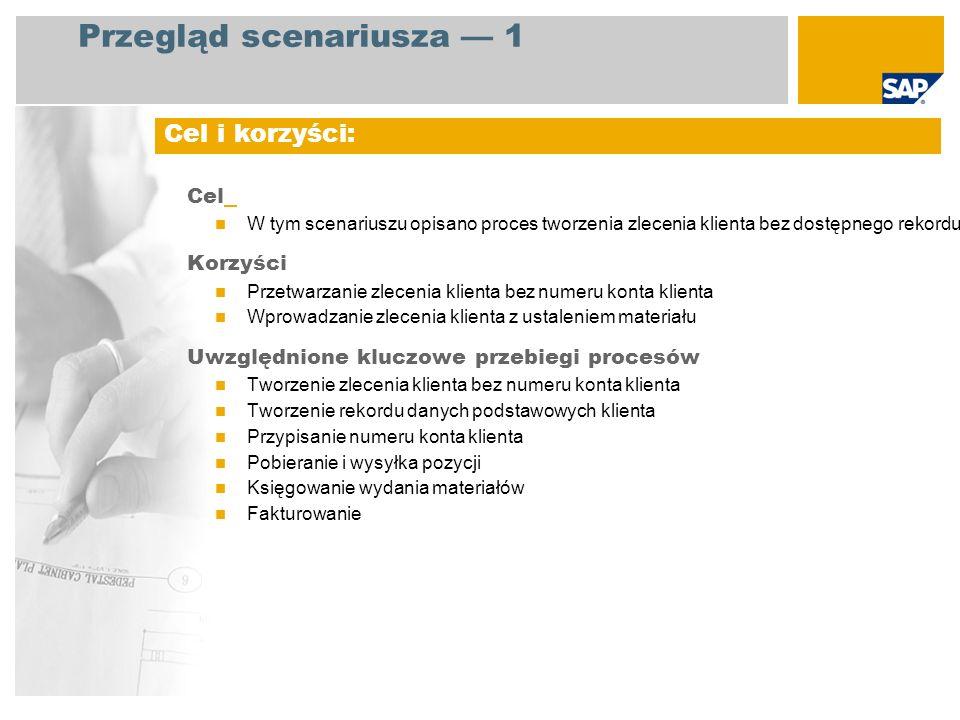 EHP3 for SAP ERP 6.0 Administracja sprzedaży Magazynier Fakturowanie Rozrachunki z odbiorcami Tworzenie zlecenia klienta bez numeru konta klienta Tworzenie rekordu danych podstawowych klienta Przypisanie numeru konta klienta Pobieranie i wysyłka pozycji Księgowanie wydania materiałów Fakturowanie Wymagane aplikacje SAP: Role firmy zaangażowane w przebiegi procesów Uwzględnione kluczowe przebiegi procesów Przegląd scenariusza 2