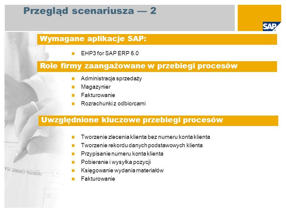 EHP3 for SAP ERP 6.0 Administracja sprzedaży Magazynier Fakturowanie Rozrachunki z odbiorcami Tworzenie zlecenia klienta bez numeru konta klienta Twor