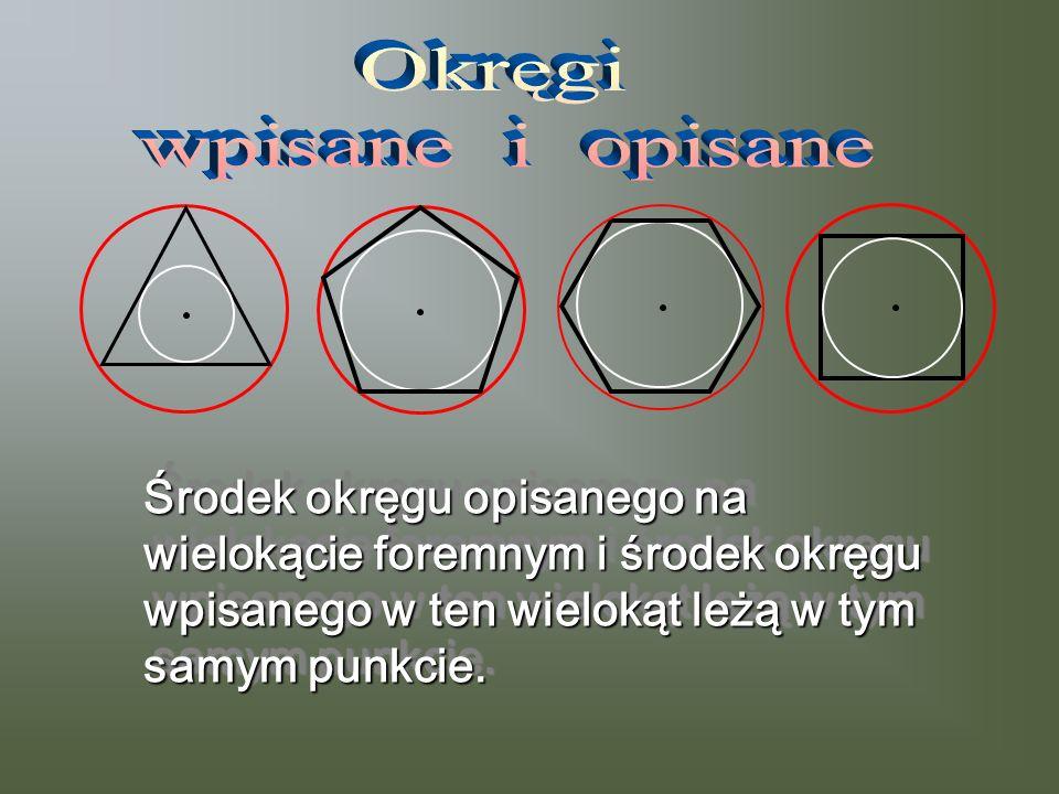 Środek okręgu opisanego na wielokącie foremnym i środek okręgu wpisanego w ten wielokąt leżą w tym samym punkcie. Środek okręgu opisanego na wielokąci