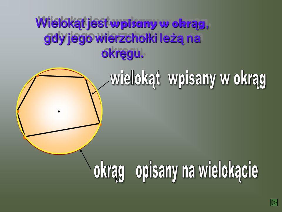 Wielokąt jest wpisany w okr ą g, gdy jego wierzchołki leżą na okręgu. Wielokąt jest wpisany w okrąg, gdy jego wierzchołki leżą na okręgu.