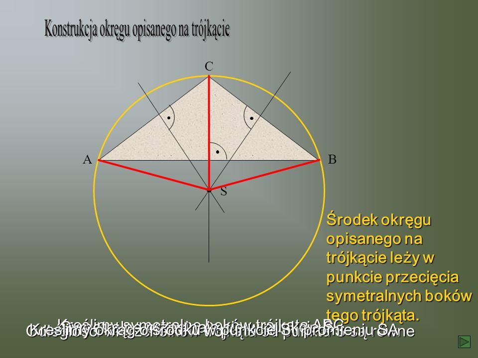Środek okręgu opisanego na trójkącie leży w punkcie przecięcia symetralnych boków tego trójkąta. AB C S Kreślimy symetralne boków trójkąta ABC Symetra