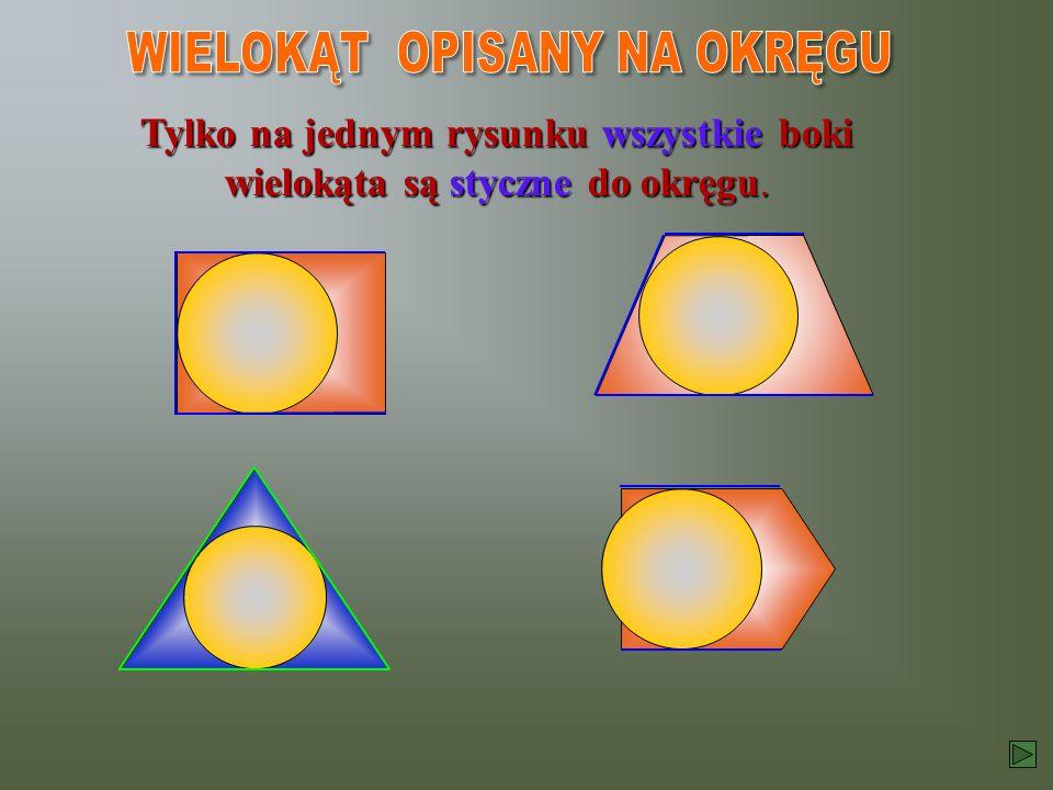 Wielokąt jest jest opisany na okręgu, gdy jego boki są styczne do okręgu. r r