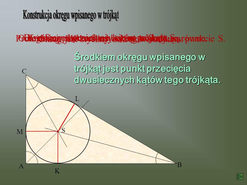 Kreślimy dwusieczne kątów trójkąta. Dwusieczne przecinają się w punkcie S. Odległości punktu S od boków trójkąta są równe. S K L M Promieniem SK kreśl