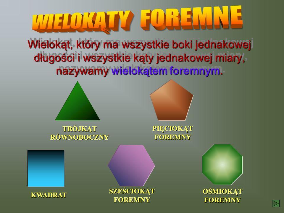 KWADRAT TRÓJKĄT RÓWNOBOCZNY SZEŚCIOKĄT FOREMNY OŚMIOKĄT FOREMNY PIĘCIOKĄT FOREMNY Wielokąt, który ma wszystkie boki jednakowej długości i wszystkie ką