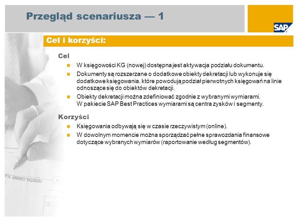 Przegląd scenariusza 1 Cel W księgowości KG (nowej) dostępna jest aktywacja podziału dokumentu. Dokumenty są rozszerzane o dodatkowe obiekty dekretacj