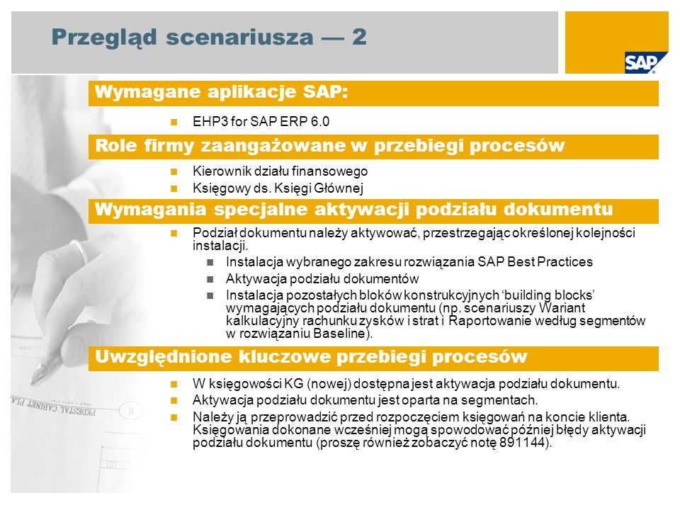 Przegląd scenariusza 2 EHP3 for SAP ERP 6.0 Kierownik działu finansowego Księgowy ds. Księgi Głównej Podział dokumentu należy aktywować, przestrzegają