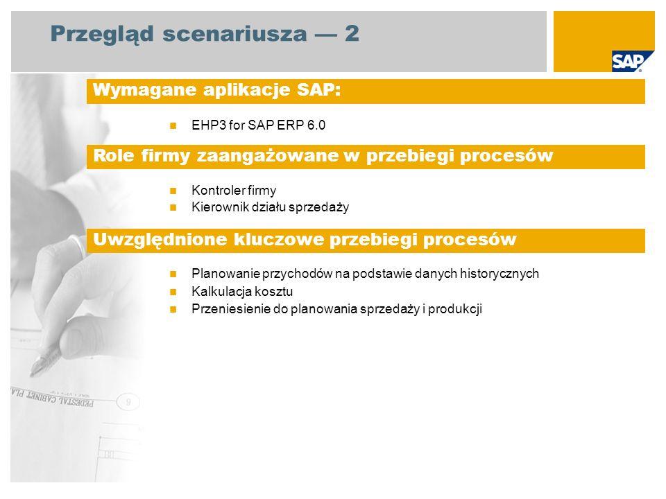 Przegląd scenariusza 2 EHP3 for SAP ERP 6.0 Kontroler firmy Kierownik działu sprzedaży Planowanie przychodów na podstawie danych historycznych Kalkulacja kosztu Przeniesienie do planowania sprzedaży i produkcji Wymagane aplikacje SAP: Role firmy zaangażowane w przebiegi procesów Uwzględnione kluczowe przebiegi procesów