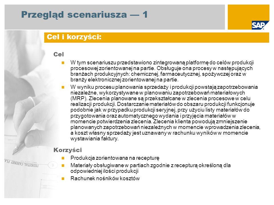 Przegląd scenariusza 1 Cel W tym scenariuszu przedstawiono zintegrowaną platformę do celów produkcji procesowej zorientowanej na partie. Obsługuje ona