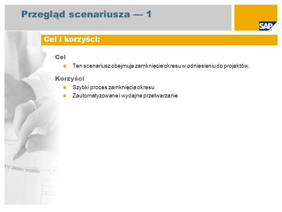 Przegląd scenariusza 1 Cel Ten scenariusz obejmuje zamknięcie okresu w odniesieniu do projektów. Korzyści Szybki proces zamknięcia okresu Zautomatyzow