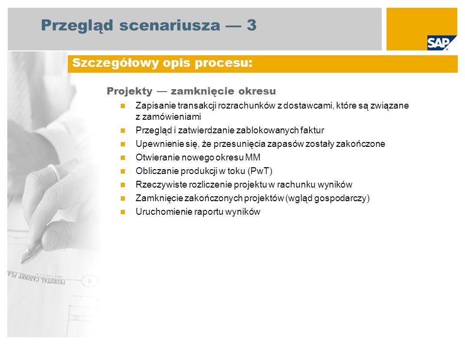 Przegląd scenariusza 3 Projekty zamknięcie okresu Zapisanie transakcji rozrachunków z dostawcami, które są związane z zamówieniami Przegląd i zatwierd