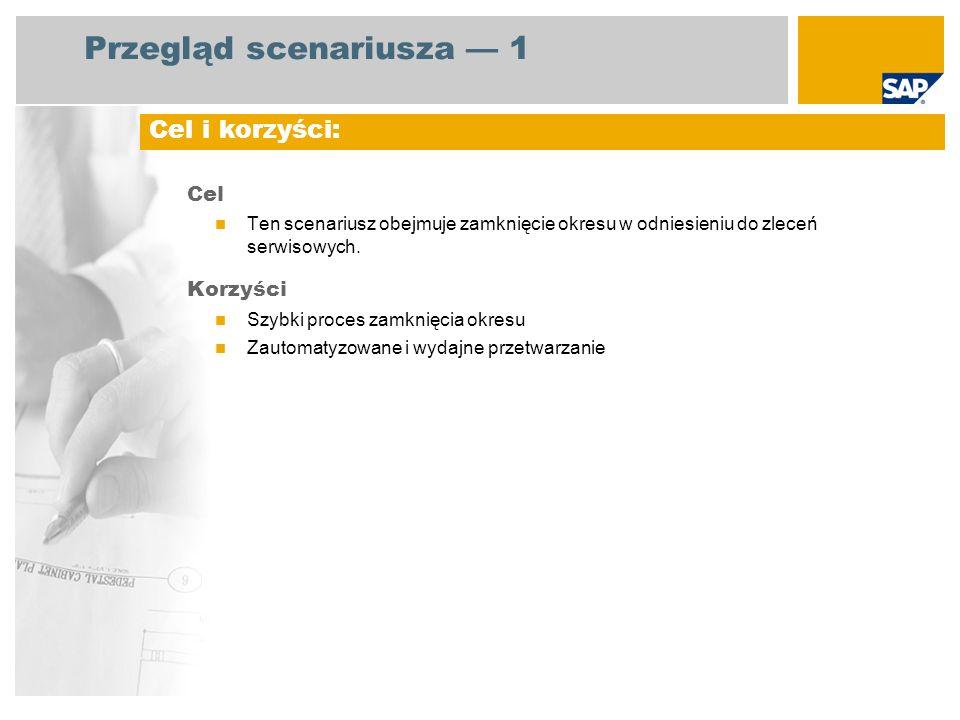 Przegląd scenariusza 1 Cel Ten scenariusz obejmuje zamknięcie okresu w odniesieniu do zleceń serwisowych. Korzyści Szybki proces zamknięcia okresu Zau