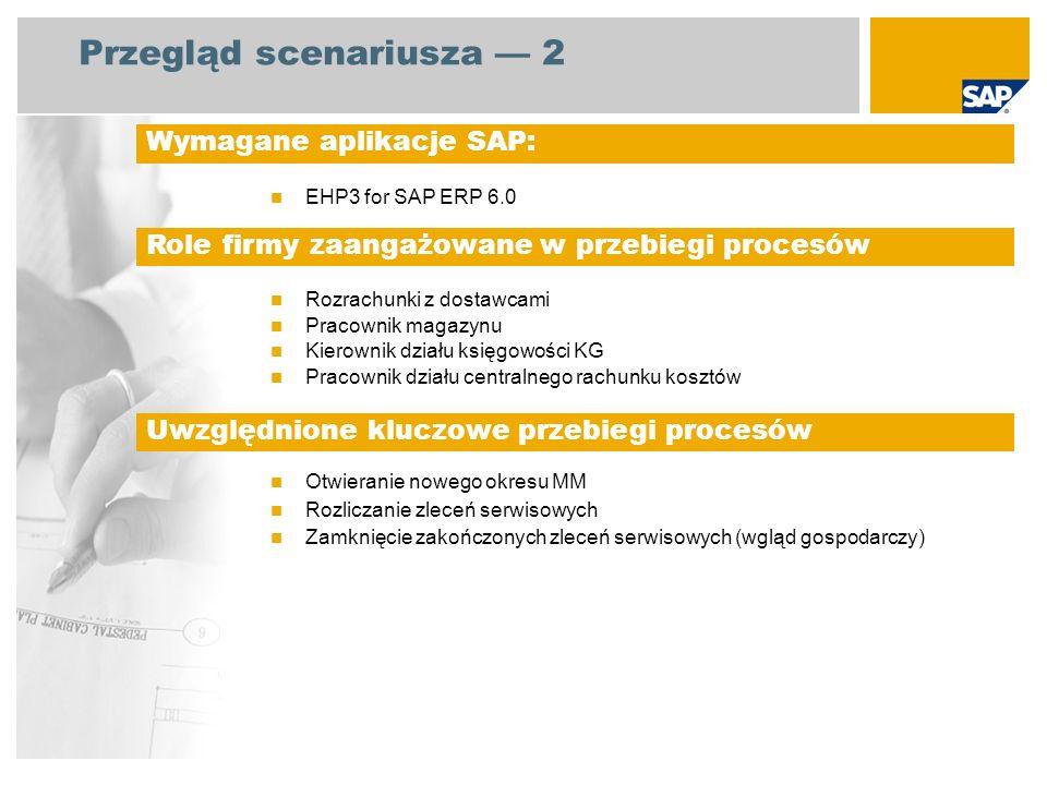Przegląd scenariusza 3 Zlecenia serwisowe zamknięcie okresu Zapisanie transakcji rozrachunków z dostawcami, które są związane z zamówieniami Przegląd i zatwierdzanie zablokowanych faktur Upewnienie się, że przesunięcia zapasów zostały zakończone Otwieranie nowego okresu MM Rozliczenie zleceń serwisowych Zamykanie zakończonych zleceń serwisowych Szczegółowy opis procesu: