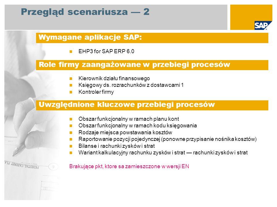 Przegląd scenariusza 2 EHP3 for SAP ERP 6.0 Kierownik działu finansowego Księgowy ds. rozrachunków z dostawcami 1 Kontroler firmy Obszar funkcjonalny