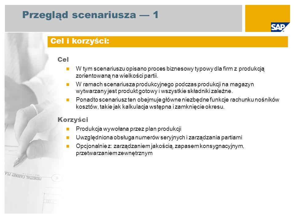 Przegląd scenariusza 1 Cel W tym scenariuszu opisano proces biznesowy typowy dla firm z produkcją zorientowaną na wielkości partii. W ramach scenarius