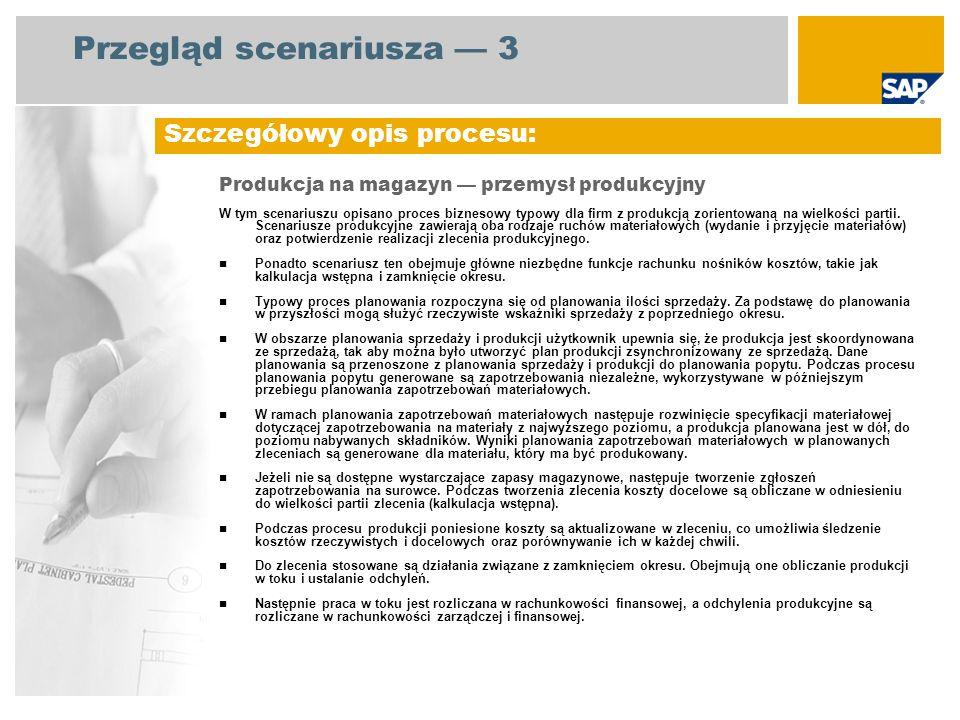 Przegląd scenariusza 3 Produkcja na magazyn przemysł produkcyjny W tym scenariuszu opisano proces biznesowy typowy dla firm z produkcją zorientowaną n
