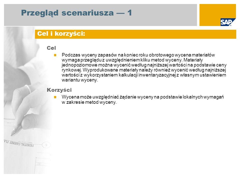 Przegląd scenariusza 2 EHP3 for SAP ERP 6.0 Magazynier Kontroler firmy Kontroler kosztów produktu Kierownik działu finansowego Wycena zapasów surowców, materiałów opakowaniowych i towarów handlowych na podstawie najniższej możliwej wartości Wycena zapasów produktów gotowych i półproduktów na podstawie lokalnych wymagań w zakresie metod wyceny Korekta wartości zapasów Wymagane aplikacje SAP: Role firmy zaangażowane w przebiegi procesów Uwzględnione kluczowe przebiegi procesów