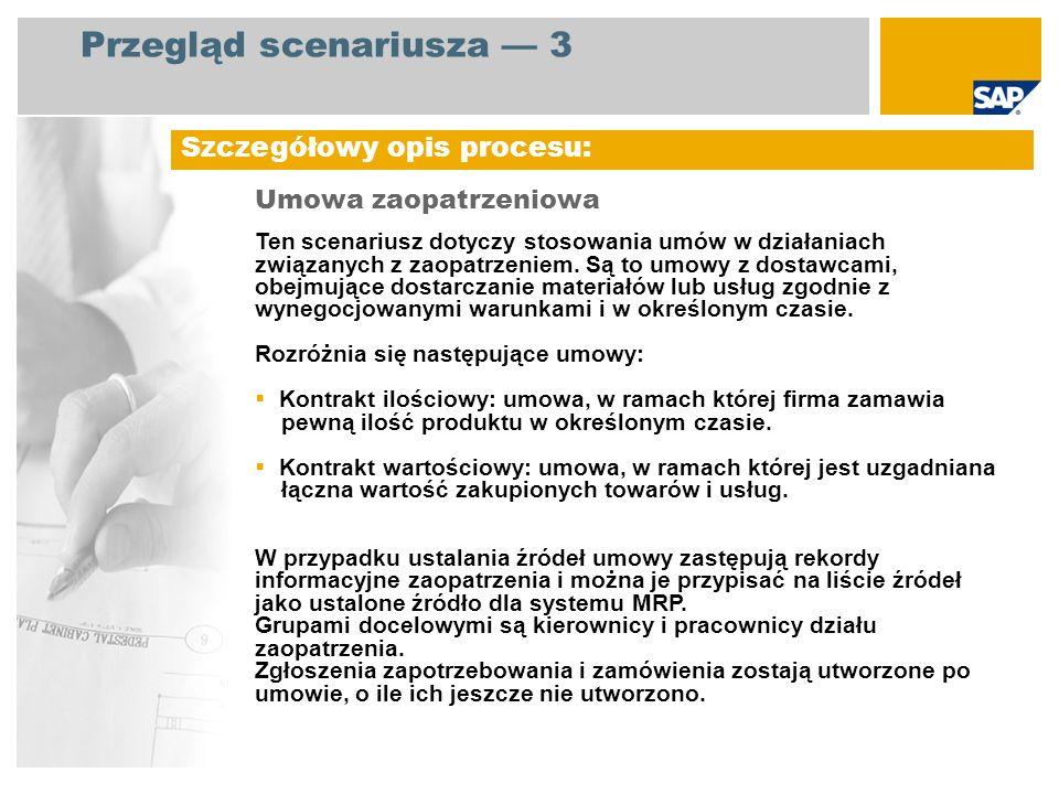 Diagram przebiegu procesu Umowa zaopatrzeniowa Pracownik działu zaopatrzenia / Kierownik działu zaopatrzenia Zdarzenie Tworzenie umowy zaopatrzeniowej Potrzeba nabycia generowana w MRP Raport dot.