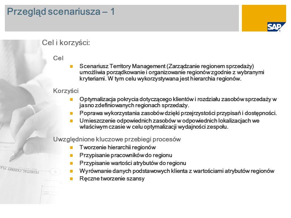 Przegląd scenariusza – 2 Wymagane SAP CRM 2007 Role firmy zaangażowane w przebiegi procesów Sales Manager Sales Employee Wymagane aplikacje firmy SAP: