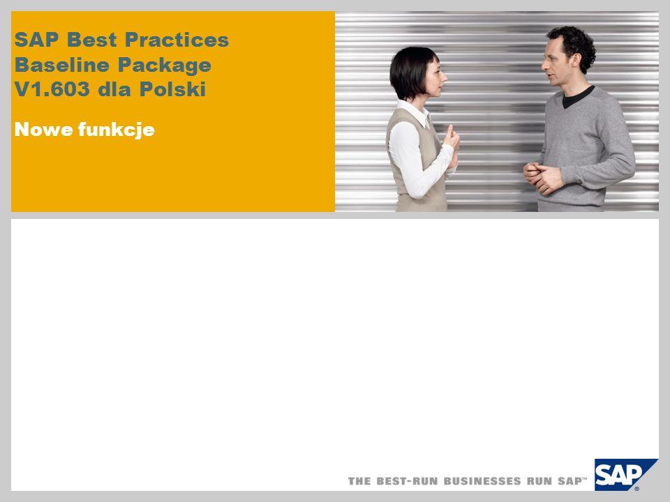 Krótki przegląd nowych funkcji Nowe samowystarczalne podzbiory rozwiązania Zakres wstępnie zdefiniowanych scenariuszy 100 głównych raportów SAP ERP Opisy danych podstawowych Wstępnie zdefiniowane formularze SAP Smart Forms Wydruk kodu kreskowego Wykorzystanie nowych list POWER Nowe narzędzie do instalacji: SAP Best Practices Solution Builder Proces faktury korygujących i zaliczek