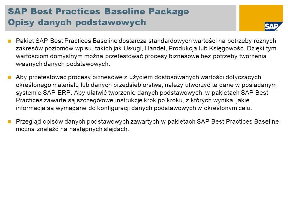 SAP Best Practices Baseline Package Opisy danych podstawowych BPDObszar Tworzenie kont i grup kontKsięgowość Tworzenie aktywów trwałychKsięgowość Opracowywanie centrów zysku i segmentówKsięgowość Opracowywanie obszarów funkcjonalnychKsięgowość Tworzenie miejsc powstawania kosztów i grup miejsc powstawania kosztów Controlling Opracowywanie hierarchii miejsc powstawania kosztów Controlling Tworzenie rodzajów kosztów i grup rodzajów kosztów Controlling Tworzenie zbieracza kosztówControlling Opracowywanie cykli rozłożeniaControlling Tworzenie kosztu standardowego dla pojedynczego materiału Controlling Tworzenie rodzajów działań i grup rodzajów działań Controlling Tworzenie zlecenia wewnętrznego Zlecenia wewnętrzne Opracowywanie oceny dostawcyVendor Tworzenie danych podstawowych dostawcyVendor Tworzenie rekordu informacyjnego zaopatrzeniaZakup Tworzenie listy źródełZakup Tworzenie kontraktu zaopatrzeniowegoZakup Tworzenie danych podstawowych klientaKlient Tworzenie warunku ceny sprzedażyKlient Opisy tworzenia danych podstawowych ogólne BPDObszar Opracowywanie zdolności produkcyjnychProduktywny Tworzenie stanowiska roboczegoProduktywny Opracowywanie hierarchii stanowisk roboczychProduktywny Tworzenie zasobów dla przemysłu procesowegoProduktywny Tworzenie grup produktówProduktywny Tworzenie surowców (ROH)Tworzenie materiałów Tworzenie półproduktów (HALB)Tworzenie materiałów Tworzenie towarów handlowych (HAWA)Tworzenie materiałów Tworzenie produktów gotowych (FERT) (niekonfigurowalnych) Tworzenie materiałów Tworzenie produktów gotowych (FERT) (konfigurowalnych)Tworzenie materiałów Tworzenie wariantu materiału konfigurowalnegoTworzenie materiałów Tworzenie numeru zmiany konstrukcyjnejTworzenie materiałów Tworzenie wersji produkcjiTworzenie materiałów Opracowywanie rozszerzenia zakładu dla materiałuRozszerzenia Opracowywanie rozszerzenia składu dla materiałuRozszerzenia Tworzenie numeru seryjnego/numeru urządzeniaRozszerzenia Opracowywanie rozszerzenia działu sprzedaży dla ma