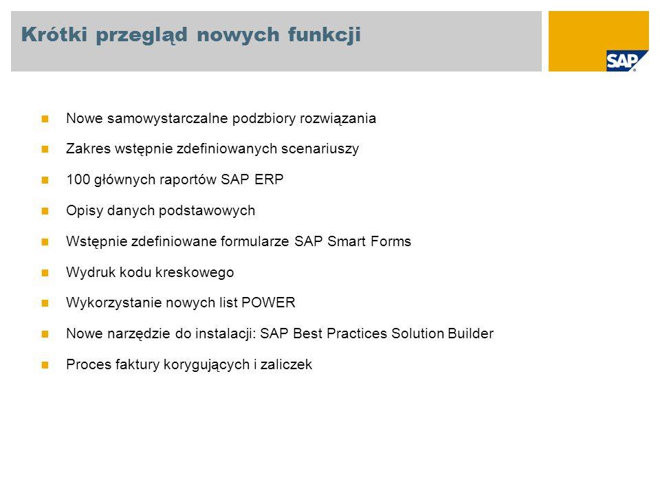SAP Best Practices Baseline Package: Nowe samowystarczalne podzbiory rozwiązania Pakiet SAP Best Practices Baseline zawiera różne wstępnie zdefiniowane scenariusze, które obejmują wszystkie najważniejsze obszary biznesowe (rachunkowość zewnętrzną, controlling, produkcję, nabycie, usługi).
