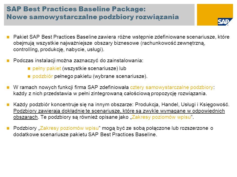 SAP Best Practices Baseline Package Zakres wstępnie zdefiniowanych scenariuszy Scenariusz Zewnętrzna rachunkowość finansowa Księga Główna Rozrachunki z dostawcami / Rozrachunki z odbiorcami Rozrachunki z odbiorcami Rozrachunki z dostawcami Zarządzanie środkami pieniężnymi Zarządzanie aktywami trwałymi Księgowość aktywów trwałych (z uwzględnieniem przychodu składnika aktywów trwałych bez zaopatrzenia logistycznego oraz zamknięcia okresu w księgowości aktywów trwałych) Przychód składnika aktywów trwałych za pośrednictwem aktywacji bezpośredniej (zintegrowane zaopatrzenie logistyczne) Przychód składnika aktywów trwałych dla wytworzonych aktywów trwałych Aktywacja podziału dokumentu i segmentów Raportowanie według segmentów Wariant kalkulacyjny rachunku zysków i strat Aktywacja podziału dokumentów Rachunkowość Scenariusz Planowanie roczne / prognozowanie Planowanie przychodów Planowanie sprzedaży i produkcji przez przeniesienie planowania długoterminowego do systemu informacyjnego logistyki/produkcji lub do zdolności produkcyjnych Planowanie cen materiałów zakupionych Planowanie miejsc powstawania kosztów produkcyjnych Planowanie miejsc powstawania kosztów ogólnych Plan kwartalny prognoza ilości sprzedaży z rachunkiem wyników Product CostingKalkulacja kosztu standardowego Rzeczywisty rachunek kosztów pośrednich Kalkulacja symulowana i wzorcowa Zlecenia wewnętrzne Planowanie zlecenia badań i rozwoju Zlecenia wewnętrzne planowanie kosztów marketingowych i innych kosztów pośrednich Zamknięcie okresuZamknięcie okresu na potrzeby rachunkowości finansowej Działania zamykające okres Wycena zapasów na zamknięcie roku obrotowego Zamykanie okresu ogólnie dla zakładu Controlling Pakiet SAP Best Practices Baseline zawiera ponad 90 wstępnie zdefiniowanych scenariuszy: