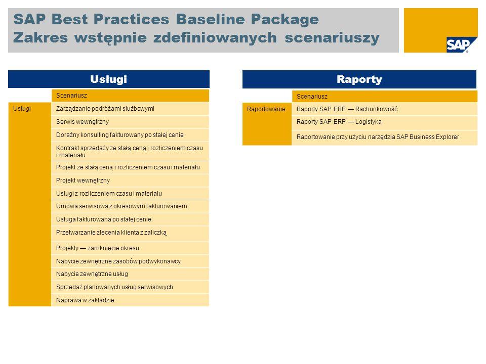 SAP Best Practices Baseline Package 100 głównych raportów SAP ERP Pakiet SAP Best Practices Baseline zapewnia informacje dotyczące różnych raportów w obszarze rachunkowości i logistyki, co umożliwia monitorowanie procesów w firmie i sterowanie nimi.