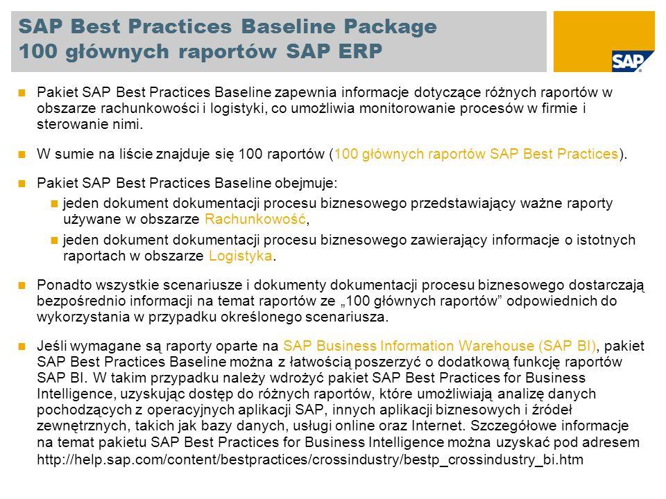 SAP Best Practices Baseline Package 100 głównych raportów SAP ERP Sprzedaż i dystrybucja Lista zleceń sprzedaży Wybór zleceń klienta Analiza zleceń klienta Rzeczywiste pozycje pojedyncze kosztów dla dokumentów sprzedaż Lista faktur Zatwierdzanie dokumentów fakturowania do księgowości Niekompletne dokumenty SD Dokumenty SD zablokowane dla dostawy Niekompletne dokumenty SD Zgłoszenia zapotrzebowania według dekretacji Zamówienia według dekretacji Lista ofert Wygasające oferty Wygasłe oferty Oferty zrealizowane Klienci z brakującymi danymi kredytowymi Faktury korygujące minus Zezwolenia: Przypisane dokumenty Kontrola danych podstawowych klienta dotyczących kontroli ustawowej Zaległe zlecenia Monitor wspomagania sprzedaży Zwroty Raporty dotyczące logistyki Nabycie materiałów i gospodarka materiałowa Analizy ogólne zamówienia, Analizy ogólne kontrakty i umowy terminarzowe Analizy ogólne oferty Lista zawiadomień Analiza wartości zamówień Zamówienia według materiału Zamówienia według dostawcy Zamówienia według numeru dokumentu Analiza grupy zaopatrzeniowej Zatwierdzanie dokumentów zaopatrzeniowych Przypisanie i przetwarzanie zgłoszeń zapotrzebowania Lista zapasów/zapotrzebowań Podwykonawstwo monitorowanie zapasów dla dostawcy Analiza dostawcy Aktywacja grupowa planowych zmian dla danego dostawcy Lista dokumentów materiałowych Wyświetlanie magazynowych zapasów materiału Dokumenty księgowe dla materiału Dokumenty materiałowe z przyczyną ruchu Analiza partii Przegląd dostępności Analiza zakładu Analiza materiału Konsygnacja i rozliczenie pipeline Konwersja zbiorcza Raporty dotyczące logistyki
